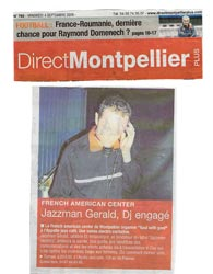 Article Presse - Direct Montpellier - V-Day - Jazzman Gerald